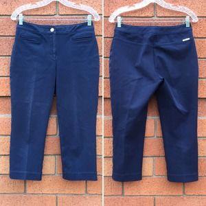 St John Blue Heavyweight Twill Capri Pants 2